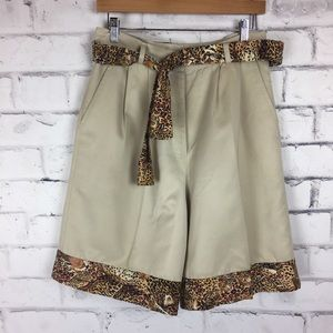 Guess khaki shorts with animal print contrast